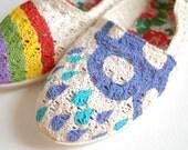 Hand Painted Flats - Rain - children's size 13