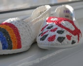 Hand Painted Flats - Hope - Rainbow, rain cloud, and raindrops in hot pink - size 7 shoes