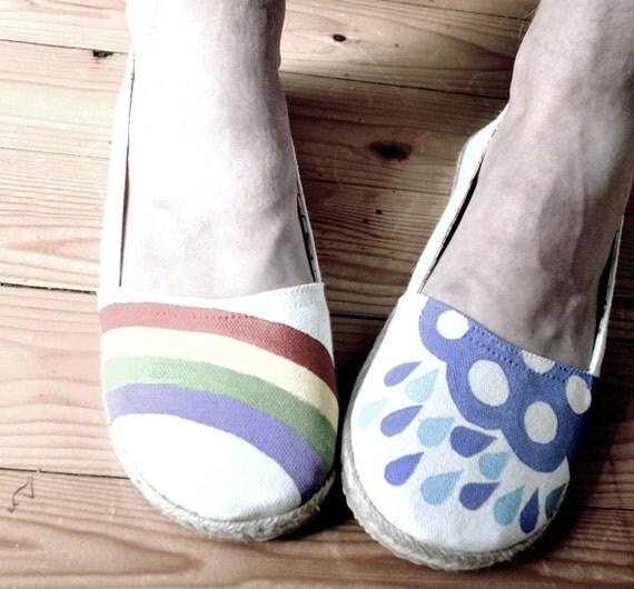 Hand Painted Flats - Hope - Rainbow, rain cloud, and raindrops - size 9 shoes
