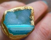 Blue druzy ring, 18k gold dipped