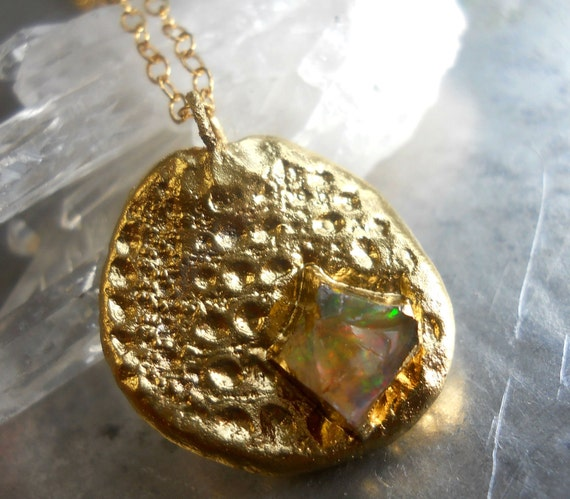 Raw fire opal necklace