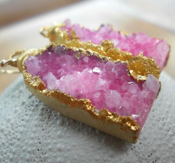 Hot pink druzy earrings, 18k gold dipped