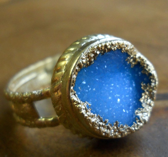 Summer sky blue druzy ring, 18k gold dipped