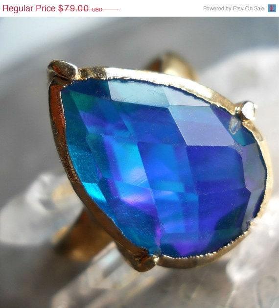 Mystic fire topaz ring, 18k gold dipped