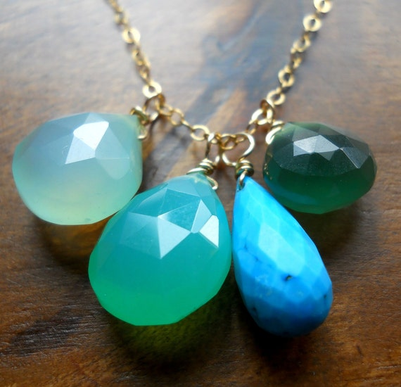 Chrysoprase, chalcedony and turquoise charm necklace