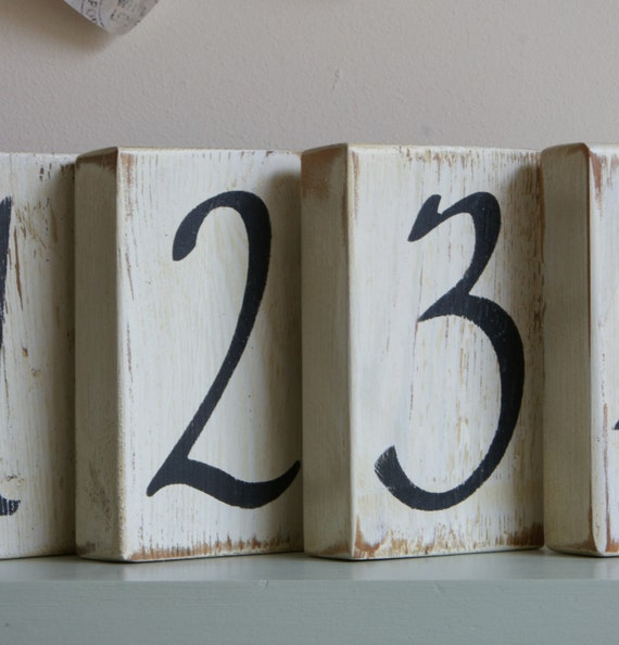 8 Shabby Chic hand painted WEDDING TABLE NUMBERS Vintage style reclaimed wood. Photo props.