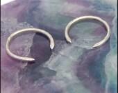 Tiny Hoop Curl Silver Tribal Earrings