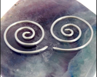 Large Spiral Curl Silver Tribal Earrings