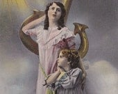 Antique Edwardian Postcard, 'Hope', Girls, Angels, Anchor, Tinted, Gold, Clouds, Romantic, English, Sky, Paper Ephemera