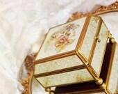 Vintage Ormolu Pressed  Glass Jewelry  Casket Box