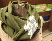 Olive green infinity scarf with white lace diamond
