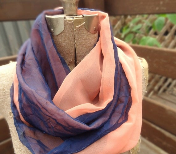 Navy blue infinity scarf with salmon pink sheer