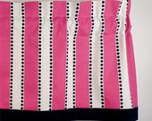 Pink Valance, Chic Valance in Pink & White Stripes with Cascading Black Dots Childrens Curtain (curtain rod not included)