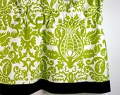 Handcrafted Custom Valance in Chartreuse & White Pattern (curtain rod not included)