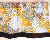 Valance Blue Yellow Floral Design for Bedroom, Kitchen or Bathroom/ Pastel Color Fabric by Waverly.