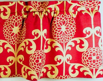 Red Valance With Sand Colored Floral Patterns.  Waverly fabric.  (curtain rod not included)