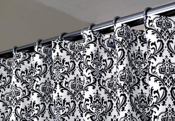 Items similar to Damask Curtain Black & White Shower Curtain With ...