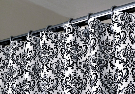 Black And White Damask Shower Curtain black white damask shower curtain