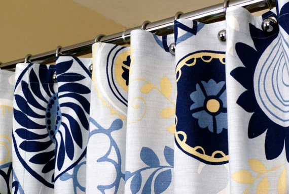 "Blue Shower Curtain with Circles Whimsical Pattern sized 72"" x 72"" (curtain hooks sold separately)"