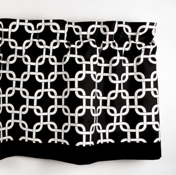 Custom Valance in Black & White Geometric Pattern (curtain rod not included)
