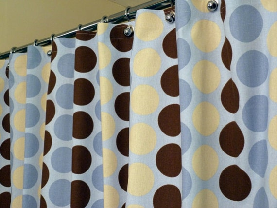 items similar to blue shower curtain with blue brown and tan dots and circles sized 72 x 72. Black Bedroom Furniture Sets. Home Design Ideas