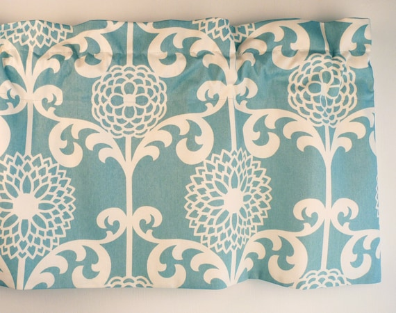 Pastel Blue Valance With White Floral Pattern for Kitchen or Bedroom.  Waverly Fabric.