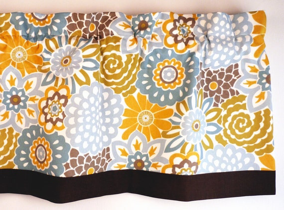 Items Similar To Valance Blue Yellow Floral Design For