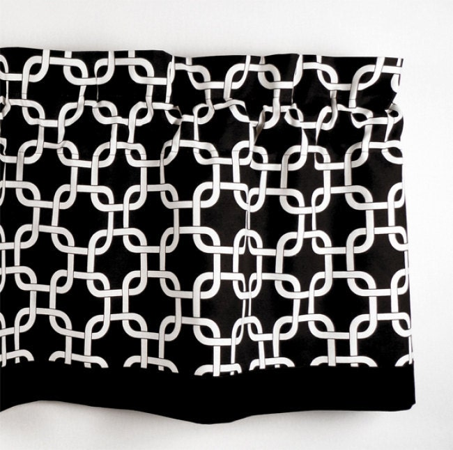 Custom Valance In Black White Geometric Pattern Curtain Rod