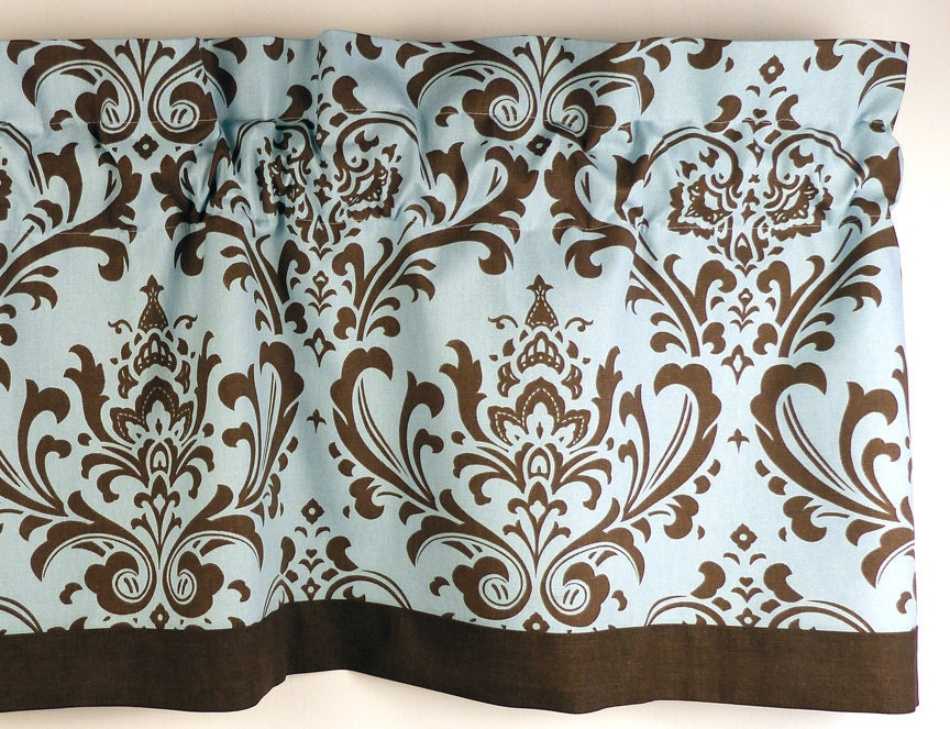 damask window curtain in french blue brown home dec fabric. Black Bedroom Furniture Sets. Home Design Ideas