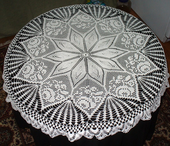Handmade White Round Crochet Tablecloth: Sugar and Spice