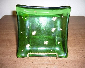 Green Glass Plate with Gold Leaves