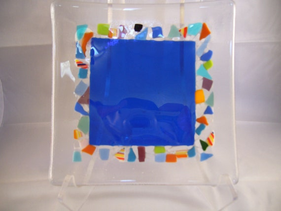 Square Fused Glass Plate With Colorful Mosaic Design