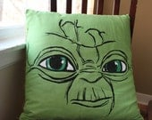Screenprinted Green Yoda Decorative Pillow 20 by 20