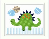 Nursery Art Print, Childrens Room Decor, Nursery Wall Art, Kids Art Print, Dinosaur Art Print, Big Green Stegosaurus 8 x 10 Art Print