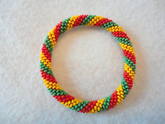 Colorful crochet beaded bracelet- spiral patterned,red, yellow and green bracelet