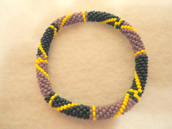Crocheted beaded bracelet in purple, green and yellow - patterned beaded bracelet - RESERVED FOR BAILEY