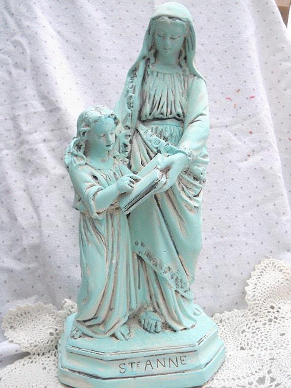 St Anne and Virgin Mary Statue Artist Design OOAK