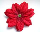 SALE 30% OFF, Flower Hair Clip, Red Velvet Poinsettia, Ready to Ship