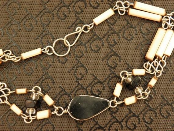 Handmade Black Onyx and Bamboo bracelet