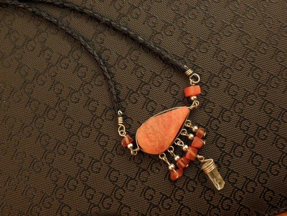 Handmade Jasper and Quartz crystal Necklace