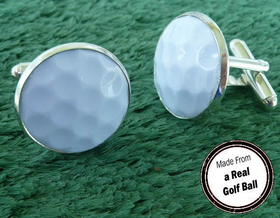 Real golf ball cufflinks handmade cuff links from a real for Golf buflings