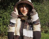 Brown & Tan Upcycled Hooded Sweater Scarf SET with Matching Armwarmers