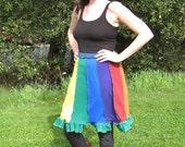 Upcycled Rainbow Skirt with Dark Blue Waist & Dark Green Hem