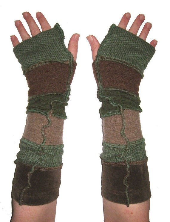 Green & Brown Upcycled Armwarmers