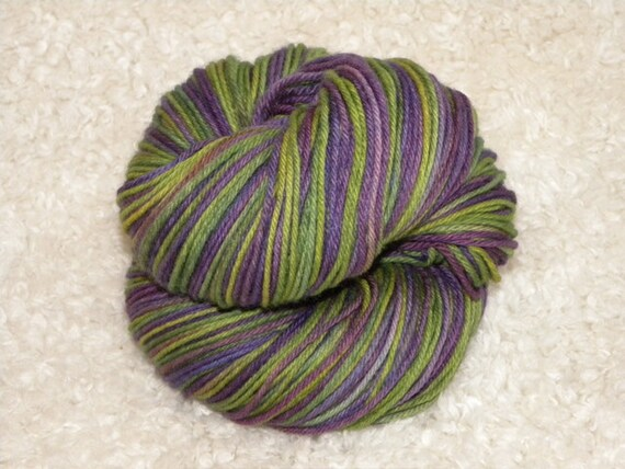 Hand Dyed Yarn, Sport weight, Superwash Merino Wool and Nylon, 100g- Sea Monster