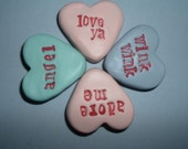 Valentines Day Conversation Heart Handmade Polymer Clay Candy Wink Wink Adore Me Angel or Love Ya