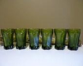 Vintage Dark Green Depression Glass, Drinking Glasses, Set of 6