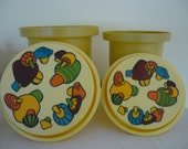 Vintage Canister Set, Retro 70's Kitchen Decor, Magic Mushroom Kitchen Storage