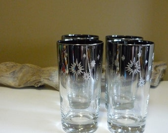 Vintage Silver Ombre Starburst Highball Glasses-Set of 4