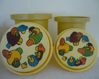 Vintage Canister Set, Retro 70's Kitchen Decor, Magic Mushroom Kitchen Storage